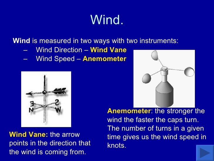 Wind. <ul><li>Wind  is measured in two ways with two instruments: </li></ul><ul><ul><li>Wind Direction –  Wind Vane </li><...