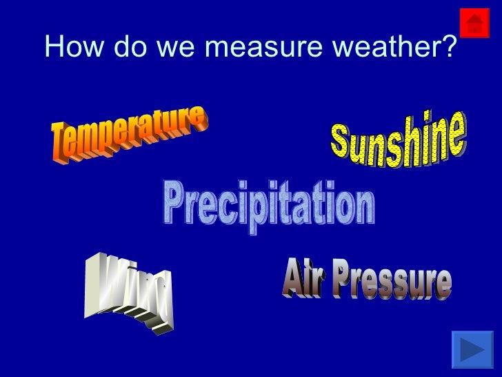 How do we measure weather? Temperature Sunshine Wind Air Pressure Precipitation