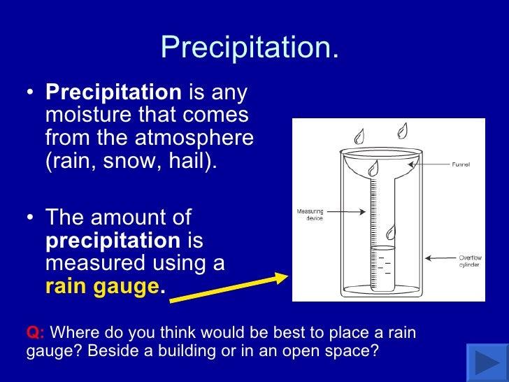Precipitation.  <ul><li>Precipitation  is any moisture that comes from the atmosphere (rain, snow, hail). </li></ul><ul><l...