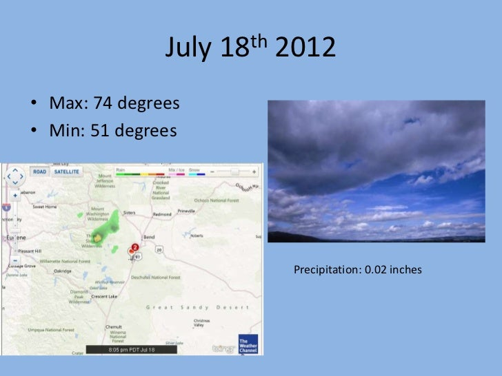 July 18th 2012• Max: 74 degrees• Min: 51 degrees                         Precipitation: 0.02 inches