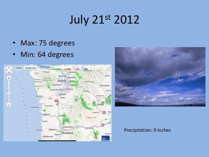 July 21st 2012• Max: 75 degrees• Min: 64 degrees                         Precipitation: 0 inches