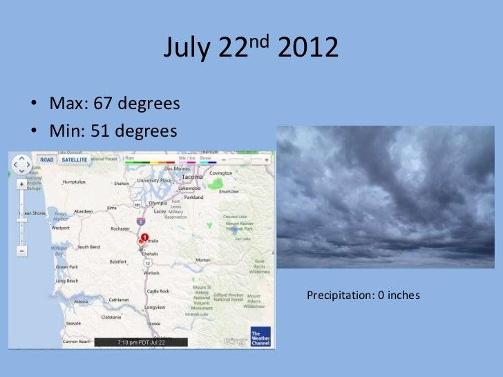 July 22nd 2012• Max: 67 degrees• Min: 51 degrees                          Precipitation: 0 inches