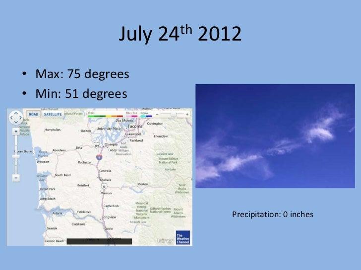 July 24th 2012• Max: 75 degrees• Min: 51 degrees                           Precipitation: 0 inches