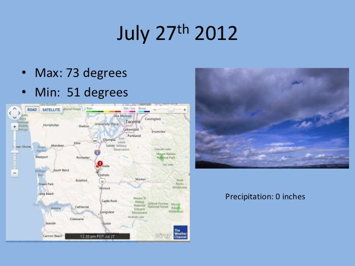 July 27th 2012• Max: 73 degrees• Min: 51 degrees                           Precipitation: 0 inches
