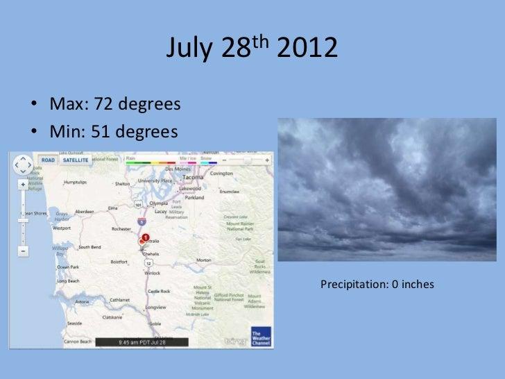 July 28th 2012• Max: 72 degrees• Min: 51 degrees                           Precipitation: 0 inches