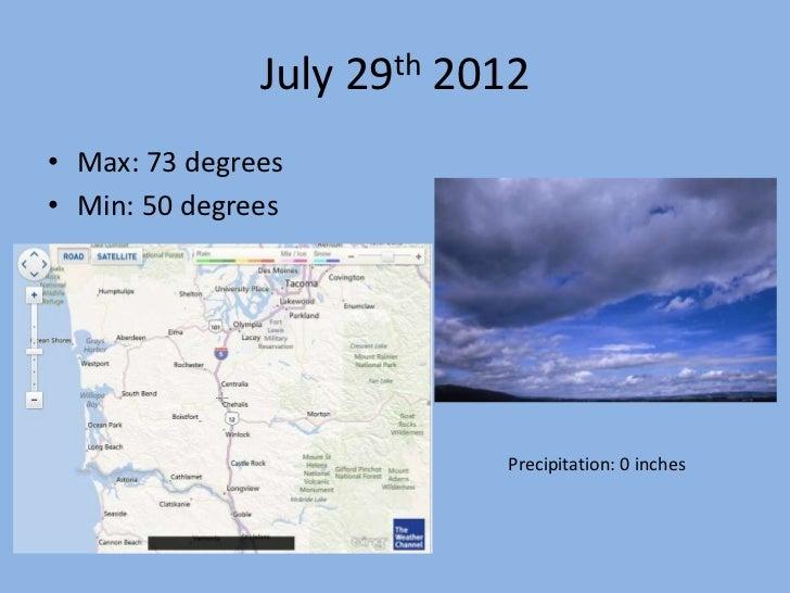 July 29th 2012• Max: 73 degrees• Min: 50 degrees                           Precipitation: 0 inches