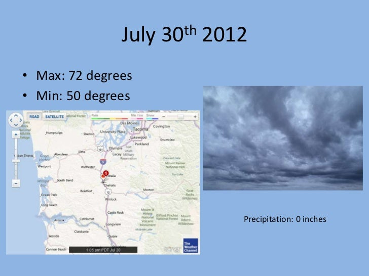 July 30th 2012• Max: 72 degrees• Min: 50 degrees                            Precipitation: 0 inches