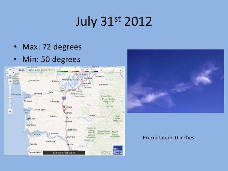 July 31st 2012• Max: 72 degrees• Min: 50 degrees                           Precipitation: 0 inches