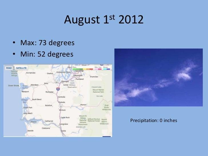 August 1st 2012• Max: 73 degrees• Min: 52 degrees                          Precipitation: 0 inches