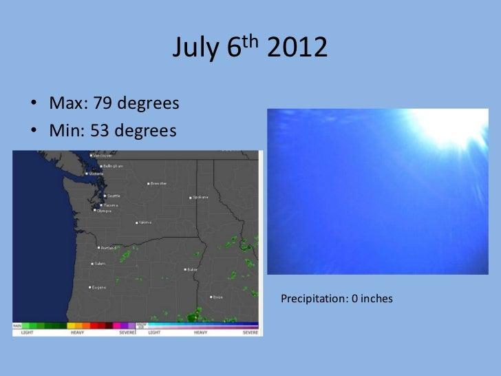 July 6th 2012• Max: 79 degrees• Min: 53 degrees                         Precipitation: 0 inches