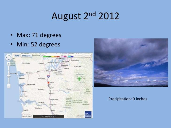 August 2nd 2012• Max: 71 degrees• Min: 52 degrees                         Precipitation: 0 inches
