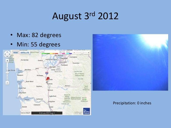 August 3rd 2012• Max: 82 degrees• Min: 55 degrees                          Precipitation: 0 inches