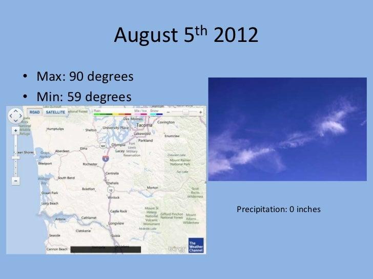 August 5th 2012• Max: 90 degrees• Min: 59 degrees                         Precipitation: 0 inches