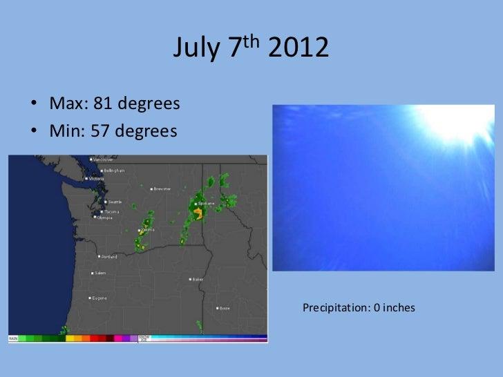 July 7th 2012• Max: 81 degrees• Min: 57 degrees                          Precipitation: 0 inches