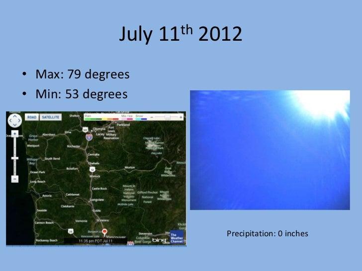 July 11th 2012• Max: 79 degrees• Min: 53 degrees                           Precipitation: 0 inches