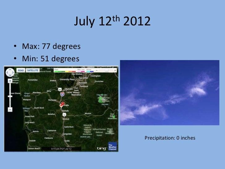 July 12th 2012• Max: 77 degrees• Min: 51 degrees                           Precipitation: 0 inches