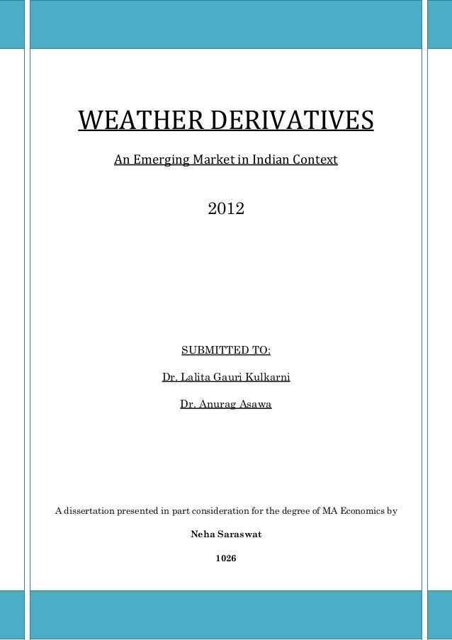 weather derivatives pricing