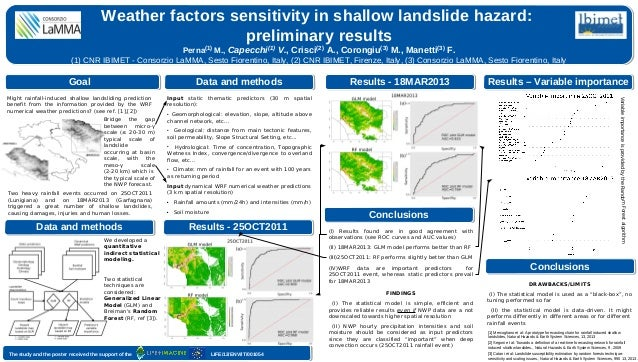 Weather factors sensitivity in shallow landslide hazard: preliminary results Perna(1) M., Capecchi(1) V., Crisci(2) A., Co...