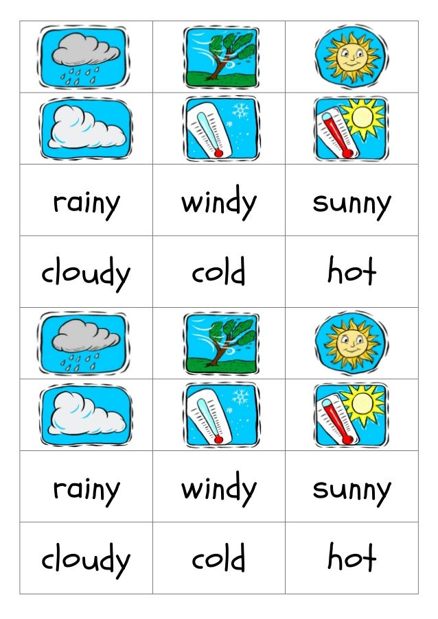 Weather Flashcard on Four Seasons Activities For Kindergarten