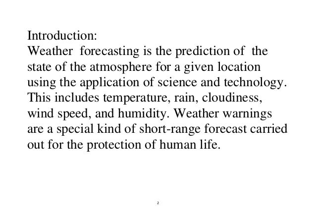 modern weather forecasting methods