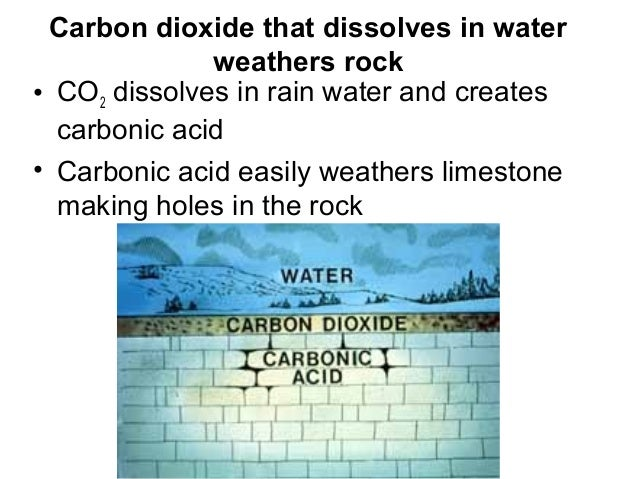 Carbon dioxide that dissolves in water              weathers rock• CO2 dissolves in rain water and creates  carbonic acid•...
