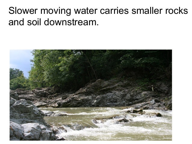 Slower moving water carries smaller rocksand soil downstream.