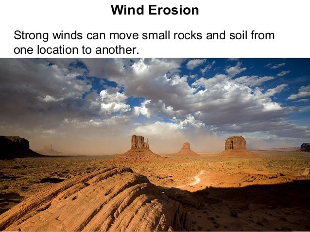 Wind ErosionStrong winds can move small rocks and soil fromone location to another.