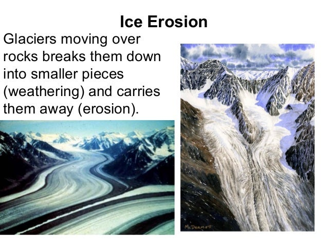 Ice ErosionGlaciers moving overrocks breaks them downinto smaller pieces(weathering) and carriesthem away (erosion).