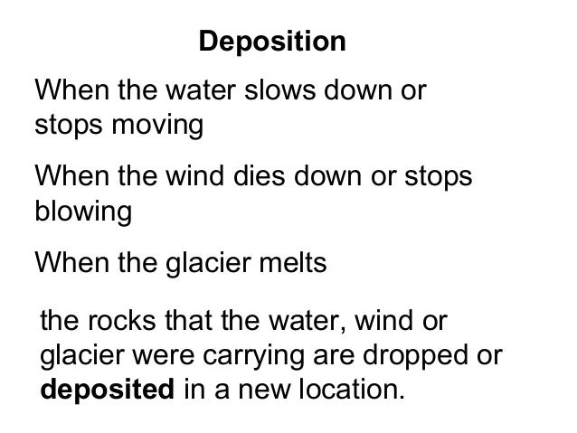 DepositionWhen the water slows down orstops movingWhen the wind dies down or stopsblowingWhen the glacier meltsthe rocks t...
