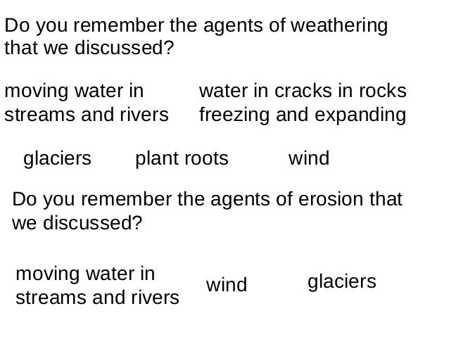 Do you remember the agents of weatheringthat we discussed?moving water in       water in cracks in rocksstreams and rivers...