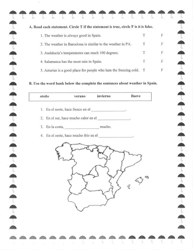 Spain Worksheets Delibertad – Spanish Weather Worksheets