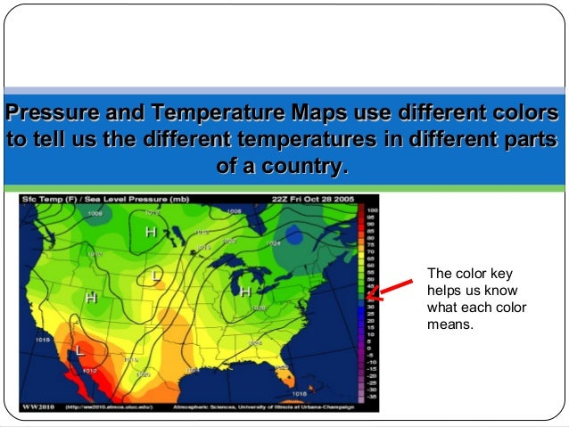 Colors On Weather Map.Weather Maps And Symbols