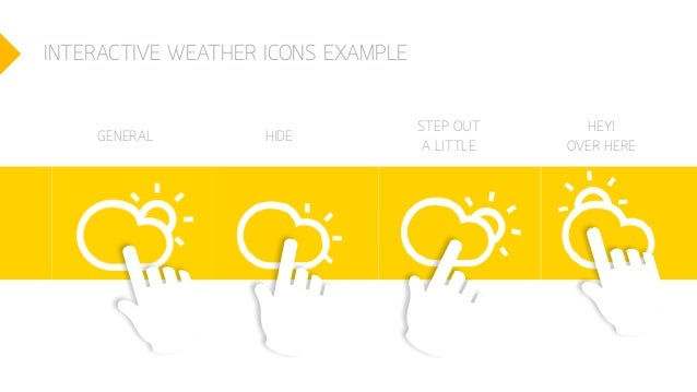 INTERACTIVE WEATHER ICONS EXAMPLE GENERAL HIDE STEP OUT A LITTLE HEY! OVER HERE