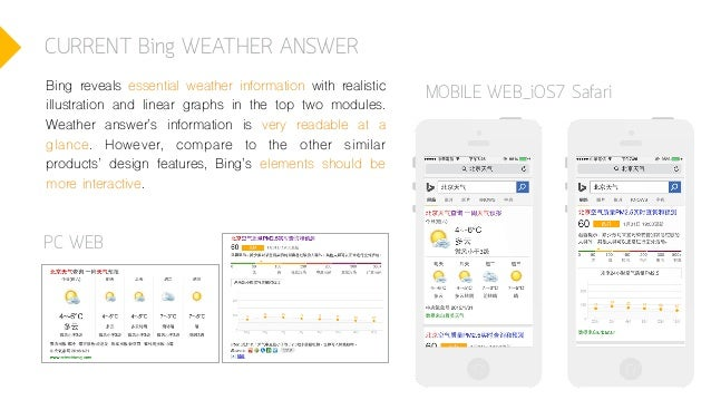 CURRENT Bing WEATHER ANSWER PC WEB MOBILE WEB_iOS7 SafariBing reveals essential weather information with realistic illustr...