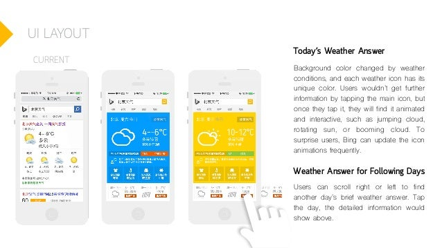 UI LAYOUT Today's Weather Answer Background color changed by weather conditions, and each weather icon has its unique colo...