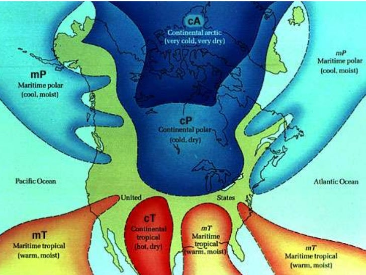 Weather Test Prepppt - Air masses map of us