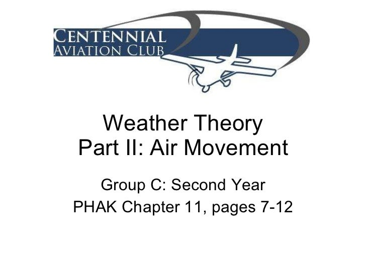 Weather Theory Part II: Air Movement Group C: Second Year PHAK Chapter 11, pages 7-12