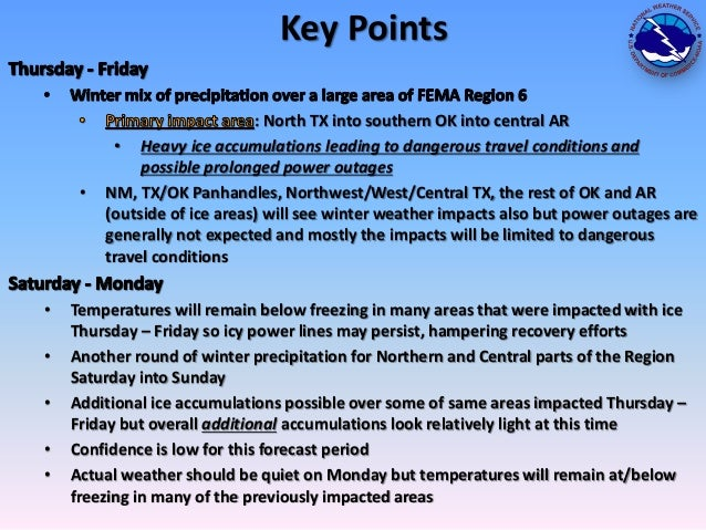 Key Points  •  • • • • •  : North TX into southern OK into central AR • Heavy ice accumulations leading to dangerous trave...