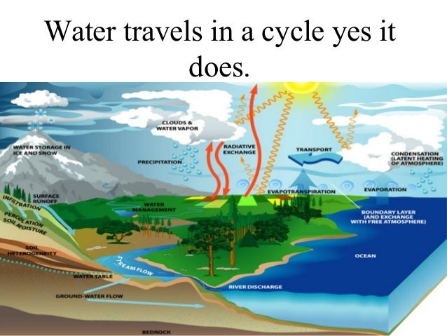 Water travels in a cycle yes it does.