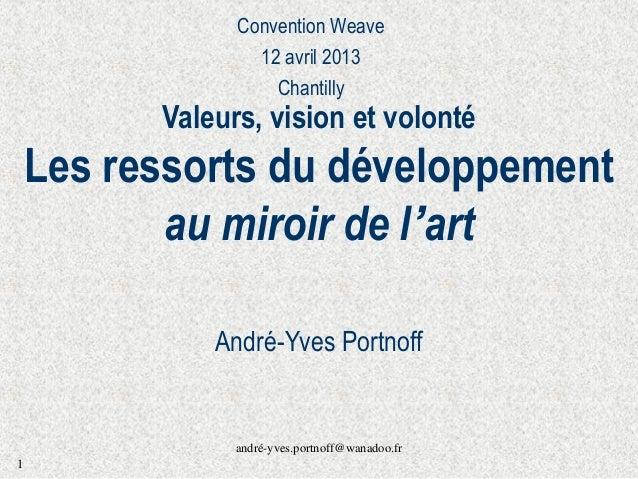 andré-yves.portnoff@wanadoo.fr 1 Valeurs, vision et volonté Les ressorts du développement au miroir de l'art André-Yves Po...