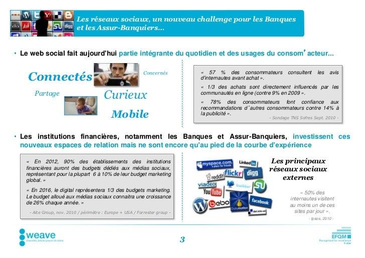 Les réseaux sociaux, un nouveau challenge pour les Banques                           et les Assur-Banquiers…• Le web socia...