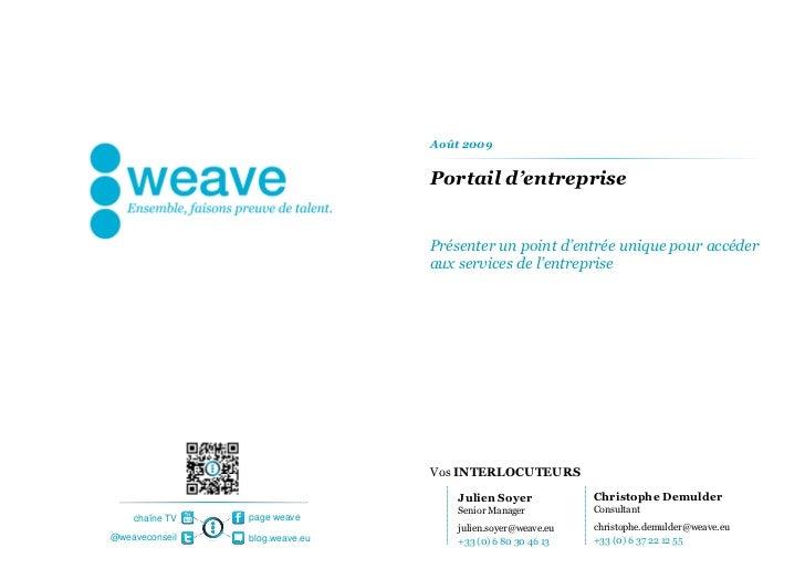 Août 2009                                Portail d'entreprise                                Présenter un point d'entrée u...