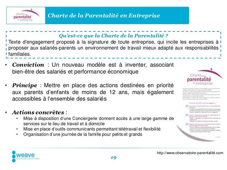 Charte de la Parentalité en Entreprise                       Qu'est-ce que la Charte de la Parentalité ? Texte dengagement...
