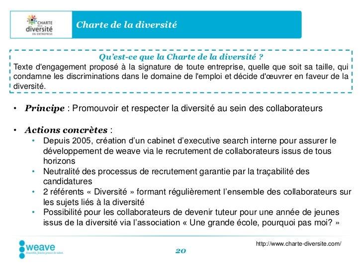 Charte de la diversité                      Qu'est-ce que la Charte de la diversité ?Texte dengagement proposé à la signat...