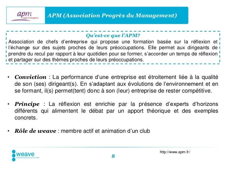 APM (Association Progrès du Management)                                   Qu'est-ce que l'APM?Association de chefs d'entre...