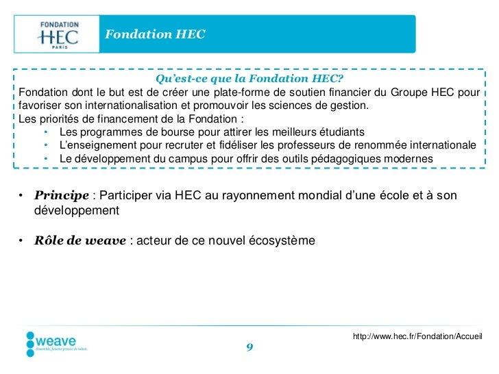 Fondation HEC                             Qu'est-ce que la Fondation HEC?Fondation dont le but est de créer une plate-form...