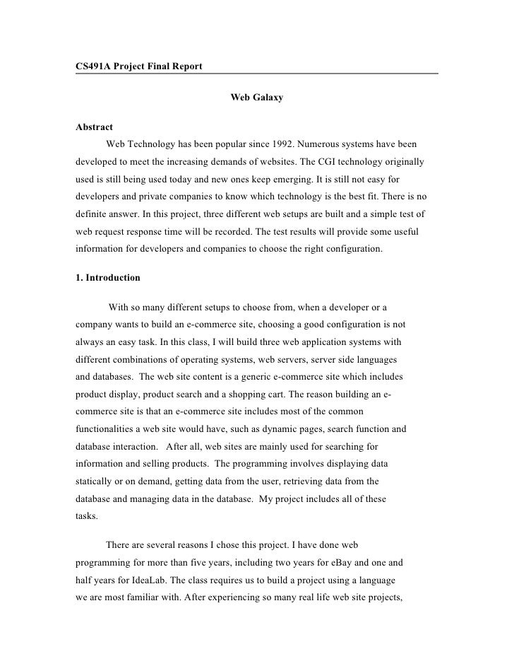 CS491A Project Final Report                                           Web Galaxy  Abstract          Web Technology has bee...