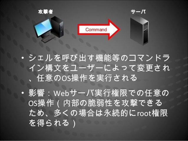 攻撃者              サーバ         Command• シェルを呼び出す機能等のコマンドラ  イン構文をユーザーによって変更され  、任意のOS操作を実行される• 影響:Webサーバ実行権限での任意の  OS操作(内部の脆弱...