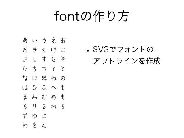 fontの作り方 •SVGでフォントの アウトラインを作成 •FontForgeで変換 •日本語フォントは大変 • ダイナミック・サブセッティング