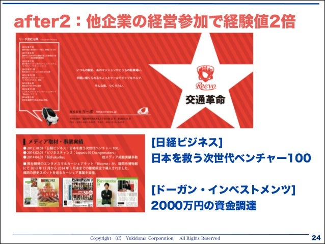 Copyright (C) Yukidama Corporation. All Rights Reserved after2:他企業の経営参加で経験値2倍 24 [日経ビジネス] 日本を救う次世代ベンチャー100 ! [ドーガン・インベストメン...